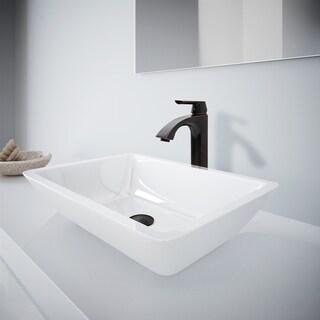 VIGO Adele Phoenix Stone Vessel Bathroom Sink Set With Linus Vessel Faucet In Antique Rubbed Bronze