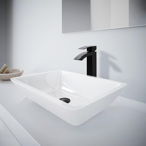 Medium Flat Edged Rectangular White Phoenix Stone Vessel Bathroom Sink And  Duris Vessel Faucet Set