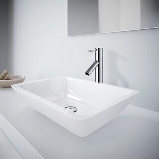 Medium Flat-Edged Rectangular White Phoenix Stone Vessel Bathroom Sink And Dior Vessel Faucet Set