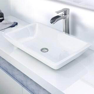 VIGO Edith Phoenix Stone Vessel Bathroom Sink Set With Niko Vessel Faucet In Brushed Nickel