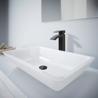 VIGO Edith Phoenix Stone Vessel Bathroom Sink Set With Duris Vessel Faucet In Matte Black