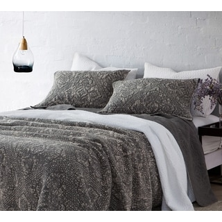 BYB Pewter Gradient Stone Washed Cotton Quilt Set