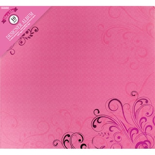 "Colorbok Post Bound Album 12""X12""-Pink Foil Flourish