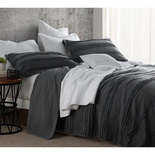 BYB Ruffled Stone Washed Pewter Quilt Set