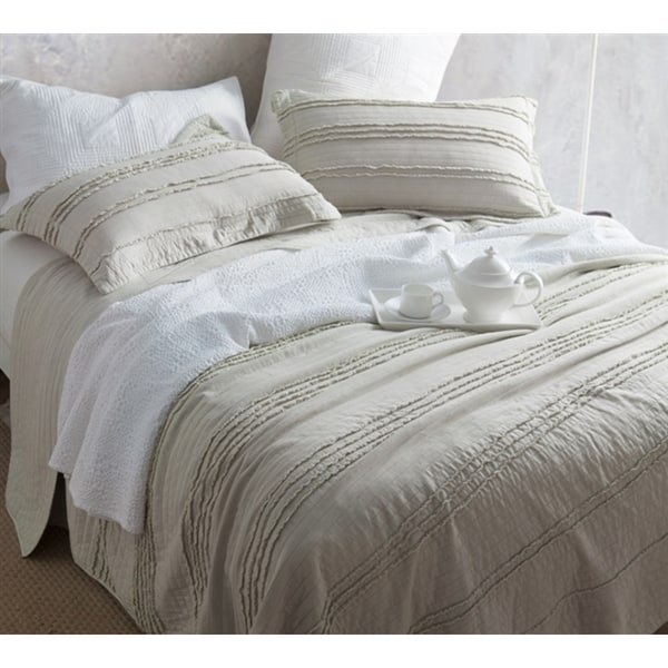 BYB Ruffled Stone Washed Silver Birch Quilt Set
