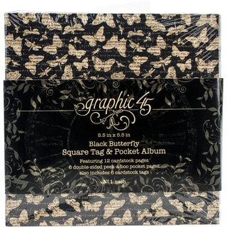 """Graphic 45 Staples Tag & Pocket Album 5.5""""X5.5""""-Black Butterfly"""