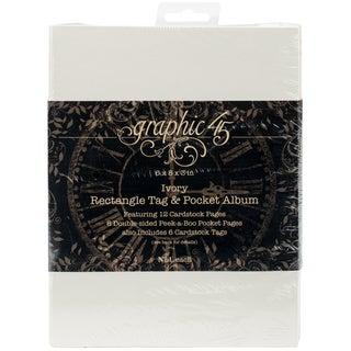Graphic 45 Staples Tag & Pocket Album Rectangle-Ivory