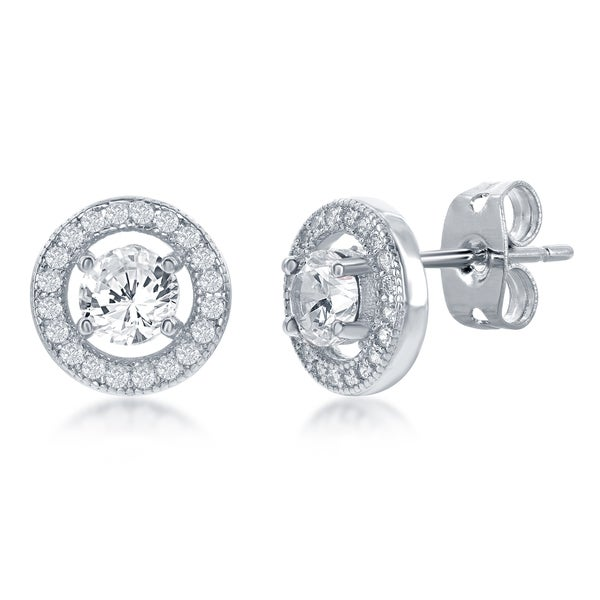 925 STERLING SILVER MICRO PAVE CLEAR CIRCLE STUD EARRINGS W// 1 CT ACCENTS//10MM