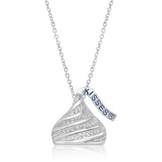 Hershey's Kisses Sterling Silver Swarovski Elements Women's Medium Flat Swirl Hershey Kiss Pendant