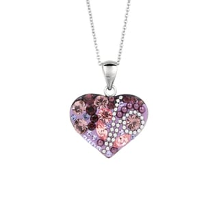 Fine Silver Plated Purple and Multi Color Crystal Heart Pendant on Chain