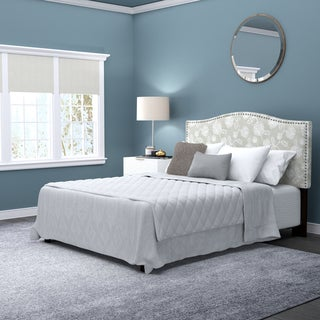 Handy Living Noleta Full/Queen Taupe Floral Upholstered Headboard