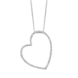 925 Sterling Silver 0.341ct Diamond Large Stackable Sideways Heart Necklace (G-H, I1)