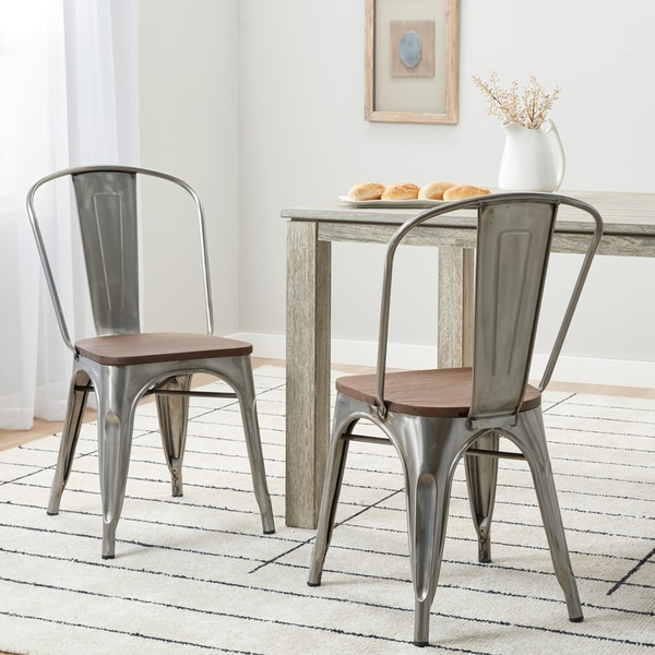 Carbon Loft Tabouret Bistro Chair with Wood Seat Gunmetal (Set of 2)