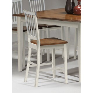 Gracewood Hollow Elmore White and Java 30-inch Slat Back Barstool (Set of 2)