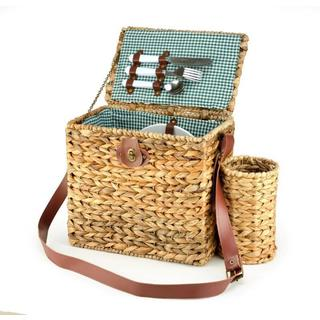Trademark Innovations Wicker Picnic Basket with Wineholder and Service for 2