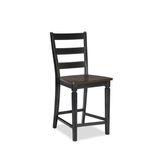 Glenwood Rubbed Black and Charcoal 24 Inch Ladderback Barstool (Pack of 2)