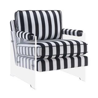 Serena Black/White Velvet and Lucite Chair