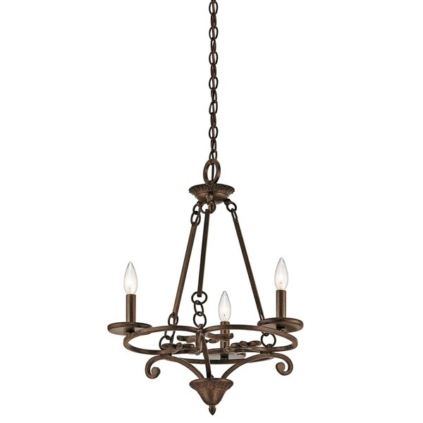 Kichler Lighting Caldella Collection 3-light Aged Bronze Mini Chandelier