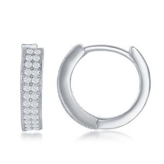 La Preciosa Silvertone Micro Pave Setting 3x15mm Double Row CZ Hoop Earrings - Silver