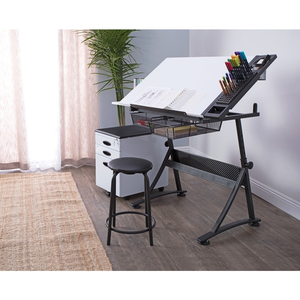 Studio Design Drafting Table studio designs futura tower drafting table 10057 Studio Designs Fusion Craft Center Drafting Table With 24 Tray