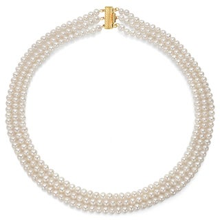 DaVonna 14k Yellow Gold 4.5-5 mm White Freshwater Triple-strand Pearl Necklace 16-inch