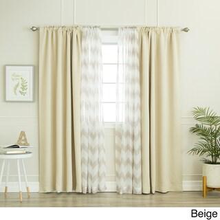 Aurora Home Mix & Match Chevron Sheer and Blackout 4 Piece Curtain Panel Set - 52 x 84