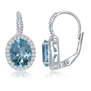 Link to La Preciosa Sterling SIlver Genuine Oval Stones w/ White Topaz Stone English Hook Earrings Similar Items in Earrings