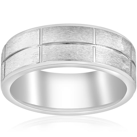 14k White Gold Mens Wedding Ring Mans Ring 8MM Wide Brushed Satin Finish 2mm Thick Comfort Fit
