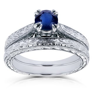 Annello by Kobelli 14k White Gold 1/2ct TGW Round Sapphire and Diamond Accent Vintage Bridal Set