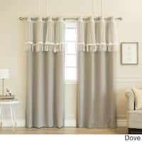 Aurora Home Mix & Match Leaf Fringe Valance and Blackout Curtain Panel Pair - 52x84