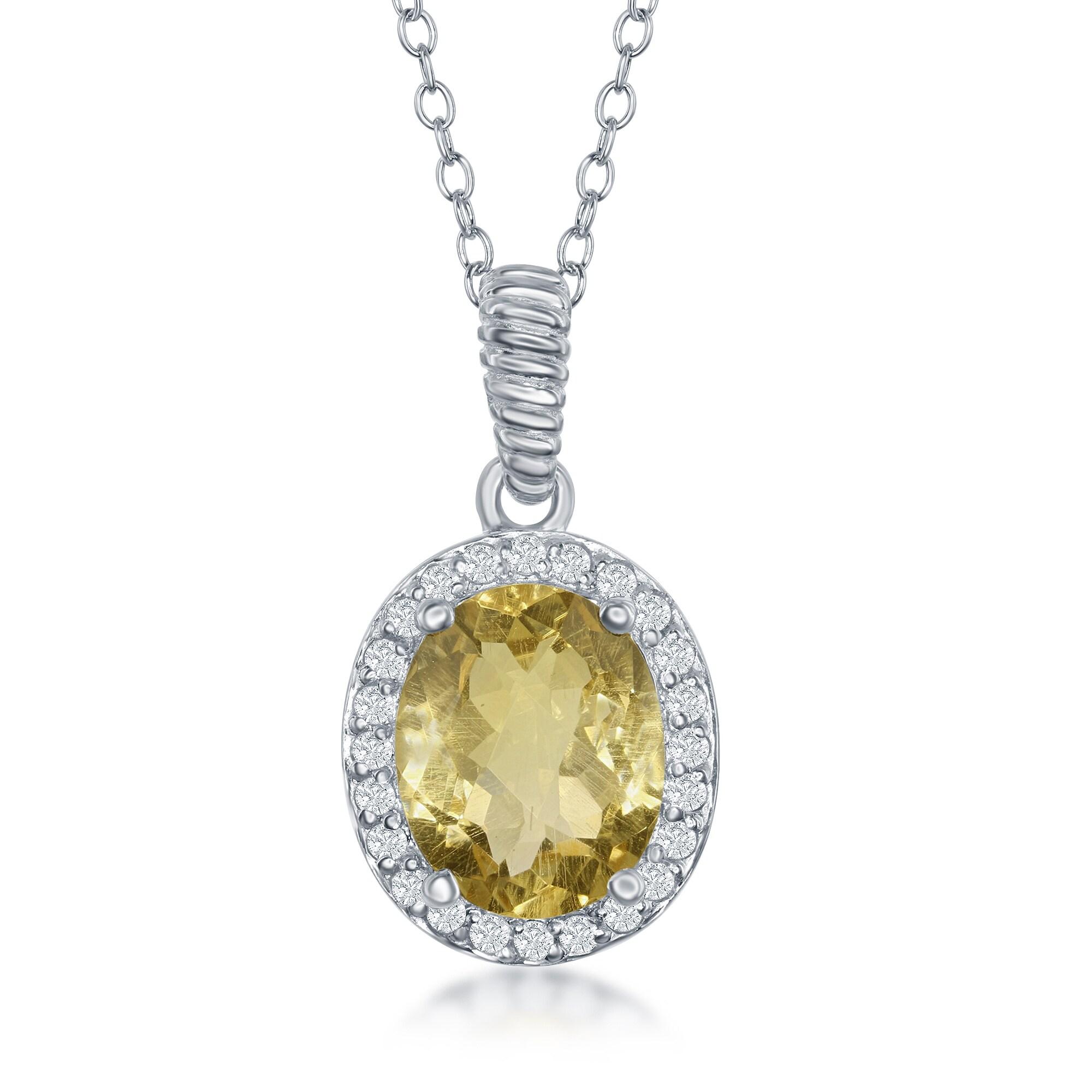 La preciosa sterling silver genuine oval stone w white topaz 18 la preciosa plata esterlina genuino oval piedra con aloadofball Image collections