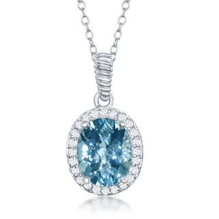 """La Preciosa Sterling Silver Genuine Oval Stone w/ White Topaz 18"""" Necklace"""