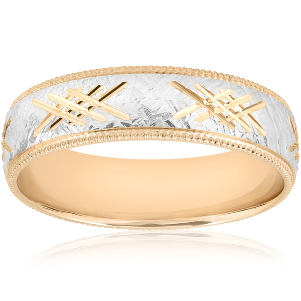 Shop 10k White & Yellow Gold Mens Two Tone Wedding Ring