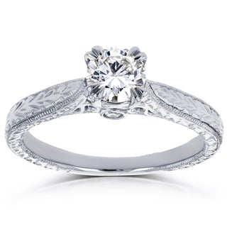 Annello by Kobelli 14k White Gold 1/2ct TDW Round Diamond Vintage Ring