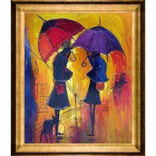 Justyna Kopania 'Rain II' Hand Painted Framed Oil Reproduction on Canvas