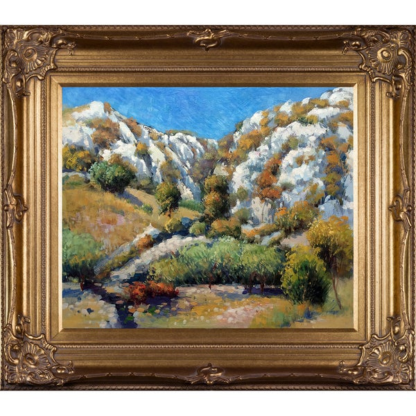 Pierre-Auguste Renoir 'Rocky Crags at L'Estaque' Hand Painted Framed Oil Reproduction on Canvas