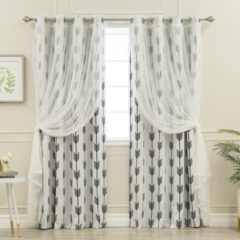 Aurora Home Mix & Match Tulle and Arrow 4 Piece Curtain Panel Set