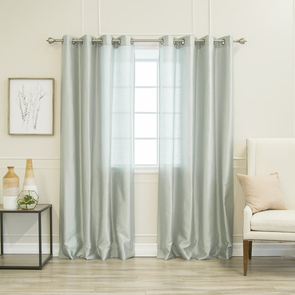 Aurora Home Faux Silk Grommet Curtain Panel Pair. Opens flyout.