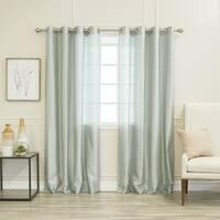 Aurora Home Faux Silk Grommet Curtain Panel Pair