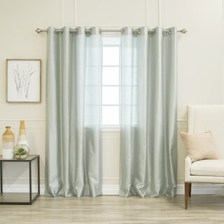 Aurora Home Faux Silk Grommet Curtain Panel Pair - N/A