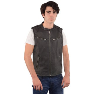 MEN'S ZIPPER FRONT LEATHER VEST WITH COOL TECH® LEATHER