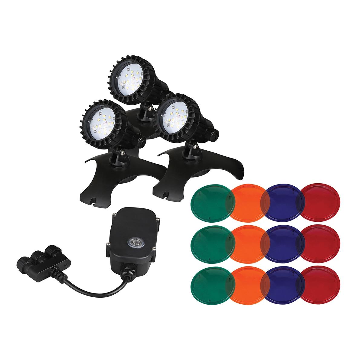 Danner Pondmaster 3 LED Pond Lights with Transformer (Bla...