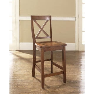 X-Back Bar Stool in Cherry Finish with 24 Inch Seat Height. (Set of Two)