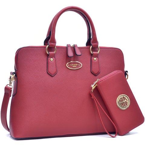 Dasein Slim Briefcase with Removable Shoulder Strap & Zip Around Emblem Wallet