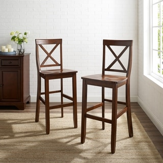X-Back Bar Stool in Classic Cherry Finish with 30 Inch Seat Height. (Set of Two)