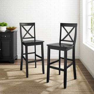 X-Back Bar Stool in Black Finish with 30 Inch Seat Height. (Set of Two)
