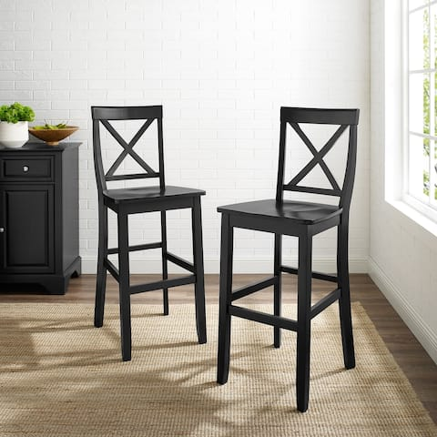 X-Back Bar Stool in Black Finish with 30 Inch Seat Height (Set of Two)