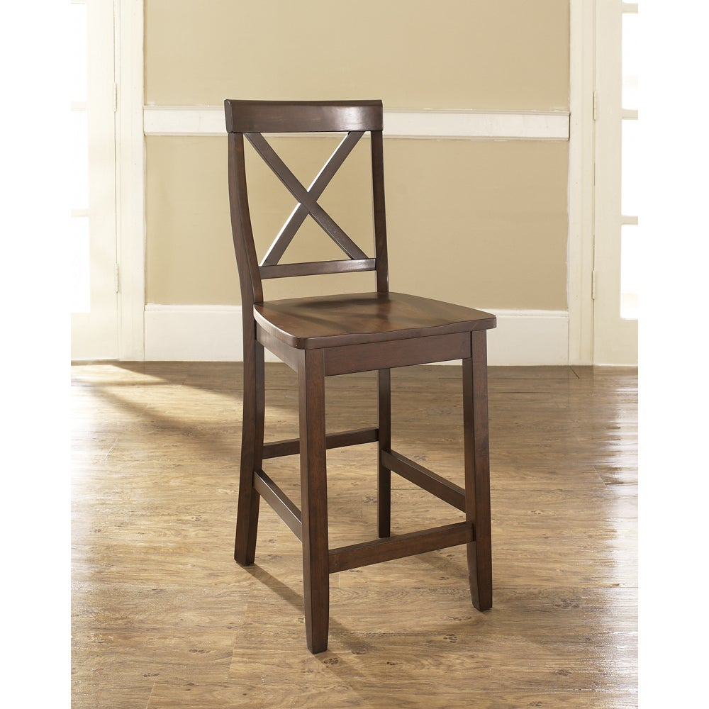 new style 7a14e 218fa X-Back Bar Stool in Mahogany Finish with 24 Inch Seat Height. (Set of Two)