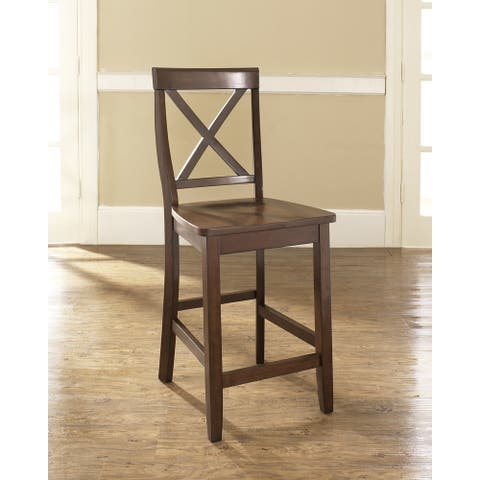 """X-Back Counter Stool in Mahogany Finish with 24 Inch Seat Height. (Set of Two) - 18.25 """"W x 21.25 """"D x 41 """"H"""