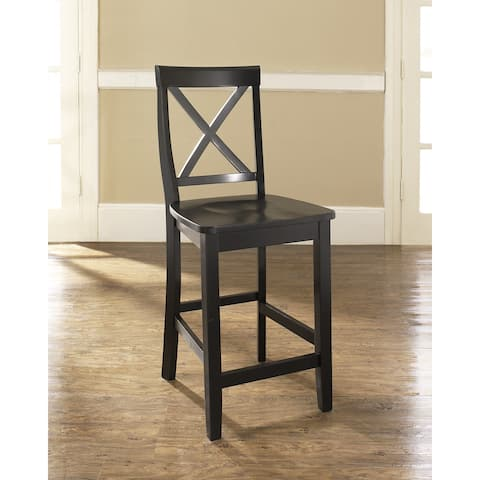 X-Back Bar Stool in Black Finish with 24 Inch Seat Height. (Set of Two) - N/A